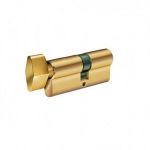 Κύλινδρος Domus Απλός 16060H 60άρης (30-30) brass με πόμολο από την μία πλευρά