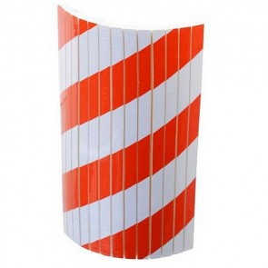 DOORADO  Αυτοκόλλητο αφρώδες προστατευτικό με εγκοπές, με κόκκινες και λευκές ανακλαστικές λωρίδες PARK-FSWP5025RW