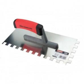 Benman Μυστρί Πλακάδων Inox 130x280mm Με Τετράγωνο Δόντι 12Χ12mm & Πλαστική Λαβή 70991